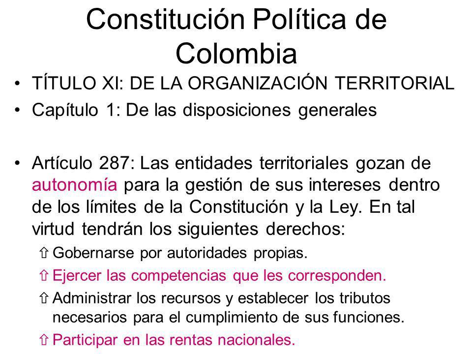 Constitución Política de Colombia TÍTULO XI: DE LA ORGANIZACIÓN TERRITORIAL Capítulo 1: De las disposiciones generales Artículo 287: Las entidades ter