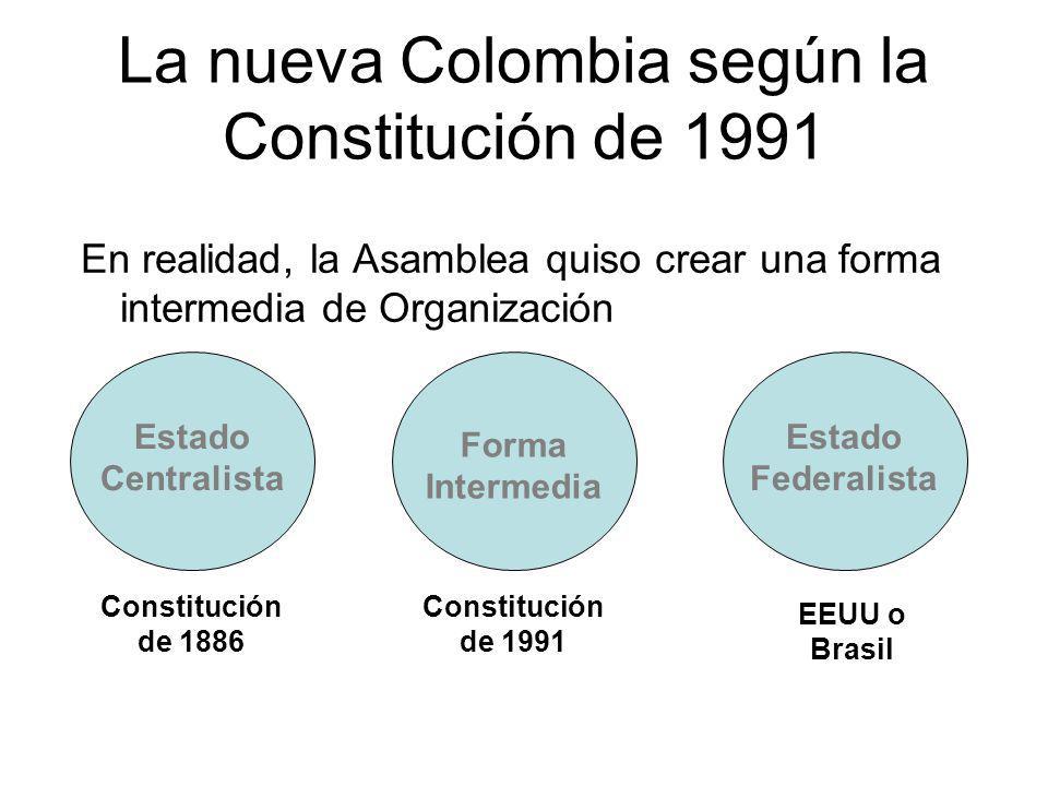 La nueva Colombia según la Constitución de 1991 En realidad, la Asamblea quiso crear una forma intermedia de Organización Estado Centralista Forma Int