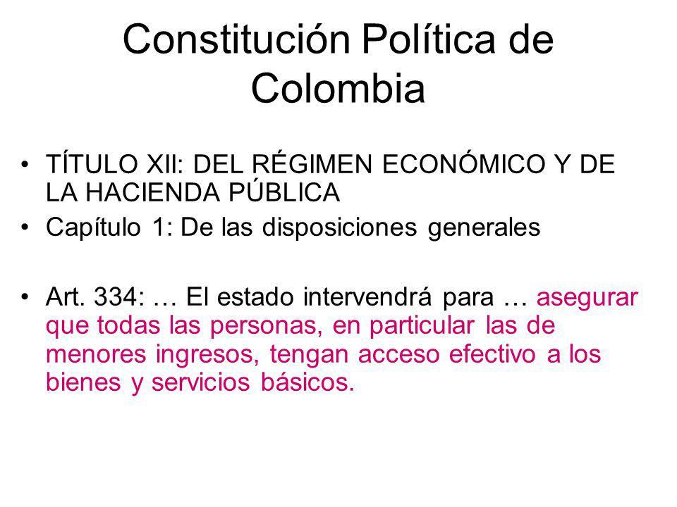Constitución Política de Colombia TÍTULO XII: DEL RÉGIMEN ECONÓMICO Y DE LA HACIENDA PÚBLICA Capítulo 1: De las disposiciones generales Art. 334: … El