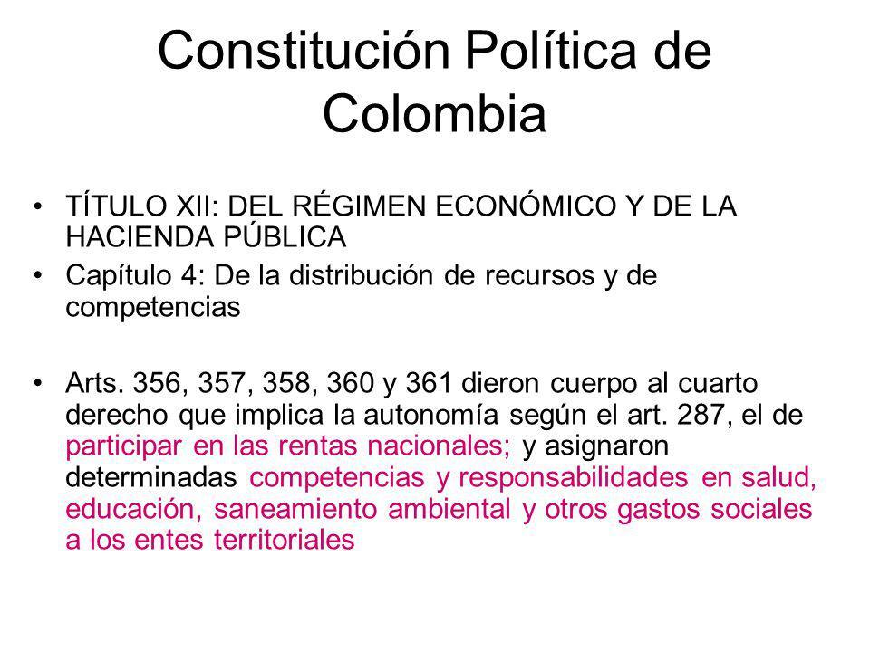 Constitución Política de Colombia Artículo 356: Salvo lo dispuesto por la Constitución, la ley, a iniciativa del Gobierno, fijará los servicios a cargo de la nación y de los departamentos, distritos y municipios.