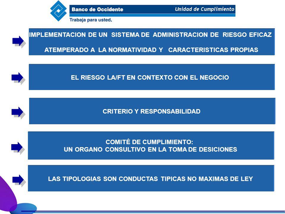 IMPLEMENTACION DE UN SISTEMA DE ADMINISTRACION DE RIESGO EFICAZ ATEMPERADO A LA NORMATIVIDAD Y CARACTERISTICAS PROPIAS EL RIESGO LA/FT EN CONTEXTO CON