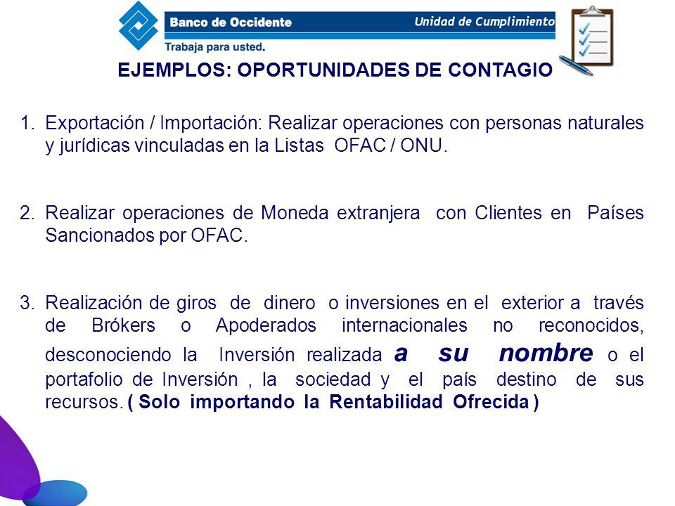 1.Exportación / Importación: Realizar operaciones con personas naturales y jurídicas vinculadas en la Listas OFAC / ONU. 2.Realizar operaciones de Mon