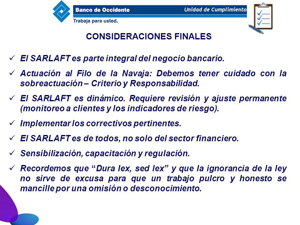 El SARLAFT es parte integral del negocio bancario. Actuación al Filo de la Navaja: Debemos tener cuidado con la sobreactuación – Criterio y Responsabi