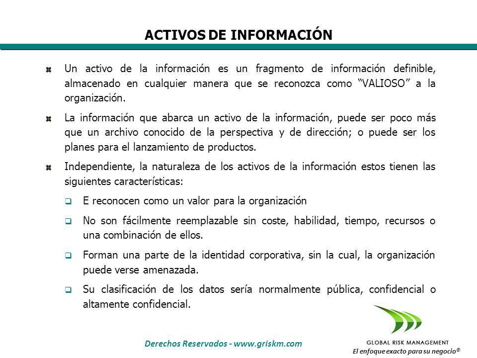 Derechos Reservados - www.griskm.com El enfoque exacto para su negocio © Un activo de la información es un fragmento de información definible, almacenado en cualquier manera que se reconozca como VALIOSO a la organización.