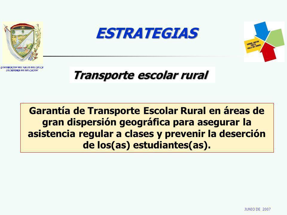 GOBERNACION DEL VALLE DEL CAUCA SECRETARIA DE EDUCACION JUNIO DE 2007 ESTRATEGIAS Transporte escolar rural Garantía de Transporte Escolar Rural en áre