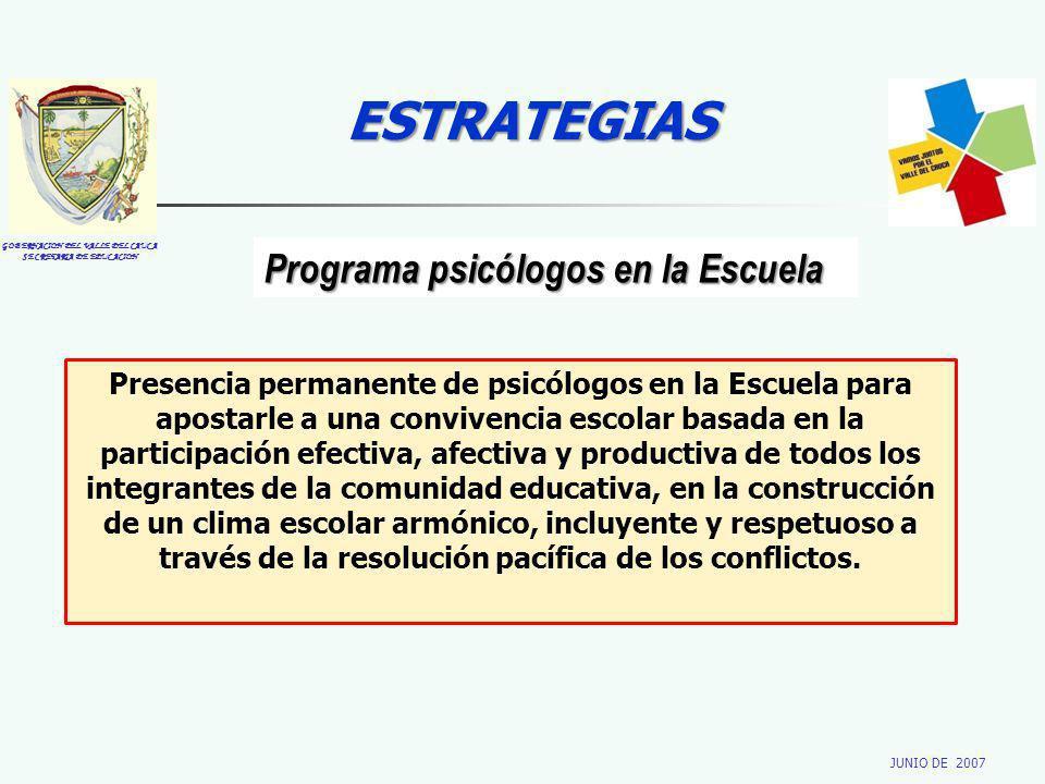 GOBERNACION DEL VALLE DEL CAUCA SECRETARIA DE EDUCACION JUNIO DE 2007 ESTRATEGIAS Programa psicólogos en la Escuela Presencia permanente de psicólogos