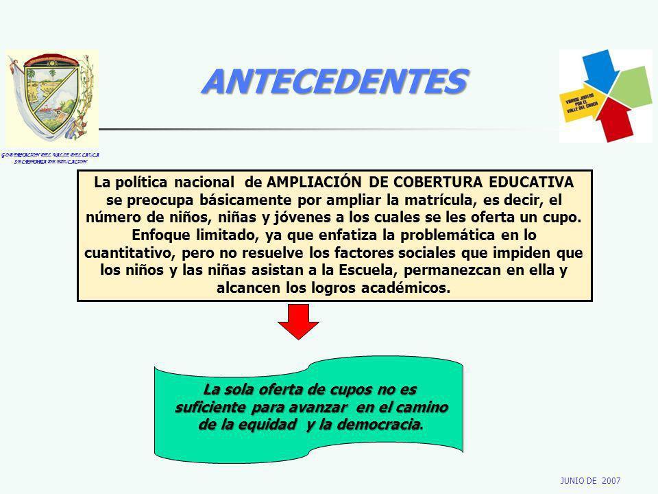 GOBERNACION DEL VALLE DEL CAUCA SECRETARIA DE EDUCACION JUNIO DE 2007 ANTECEDENTES La política nacional de AMPLIACIÓN DE COBERTURA EDUCATIVA se preocu