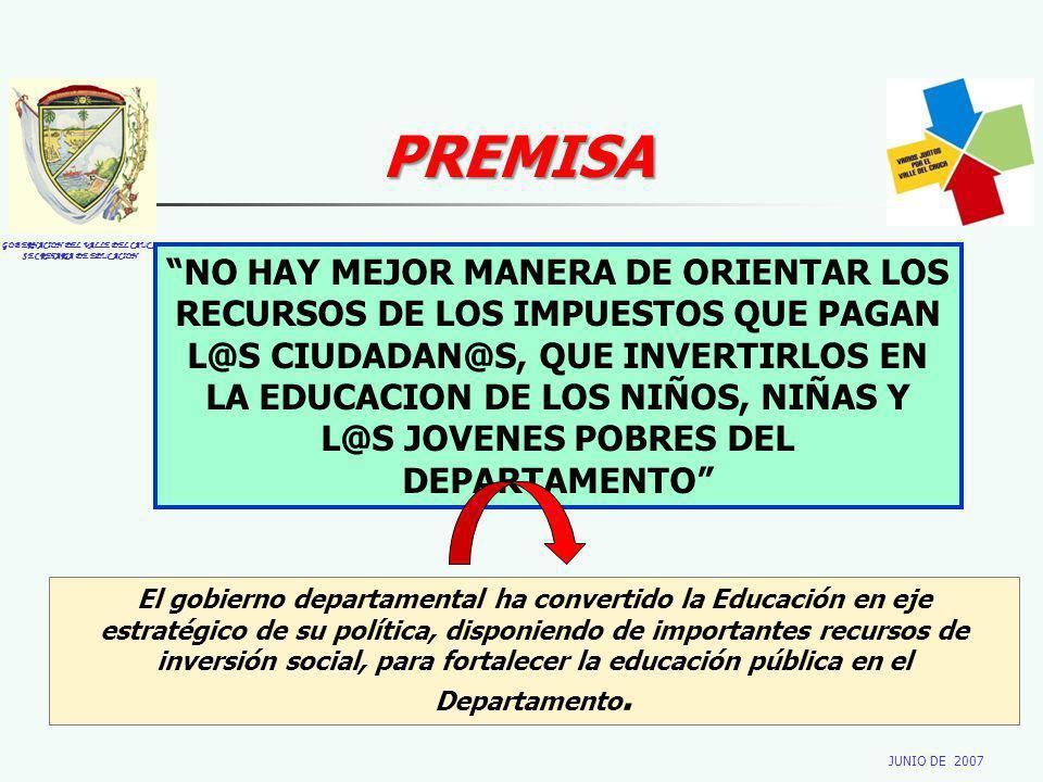 GOBERNACION DEL VALLE DEL CAUCA SECRETARIA DE EDUCACION JUNIO DE 2007 NO HAY MEJOR MANERA DE ORIENTAR LOS RECURSOS DE LOS IMPUESTOS QUE PAGAN L@S CIUDADAN@S, QUE INVERTIRLOS EN LA EDUCACION DE LOS NIÑOS, NIÑAS Y L@S JOVENES POBRES DEL DEPARTAMENTO PREMISA El gobierno departamental ha convertido la Educación en eje estratégico de su política, disponiendo de importantes recursos de inversión social, para fortalecer la educación pública en el Departamento.