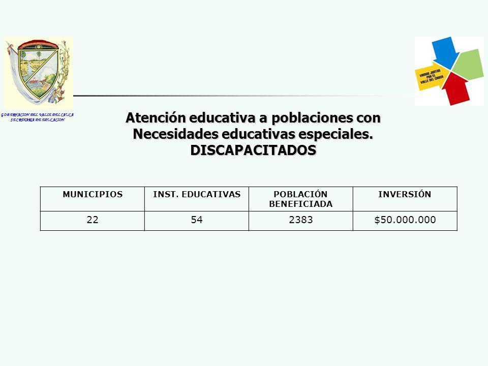 GOBERNACION DEL VALLE DEL CAUCA SECRETARIA DE EDUCACION Atención educativa a poblaciones con Necesidades educativas especiales. DISCAPACITADOS MUNICIP