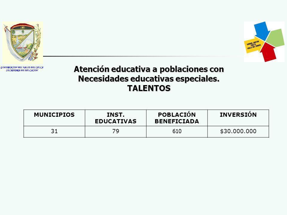 GOBERNACION DEL VALLE DEL CAUCA SECRETARIA DE EDUCACION Atención educativa a poblaciones con Necesidades educativas especiales. TALENTOS MUNICIPIOSINS