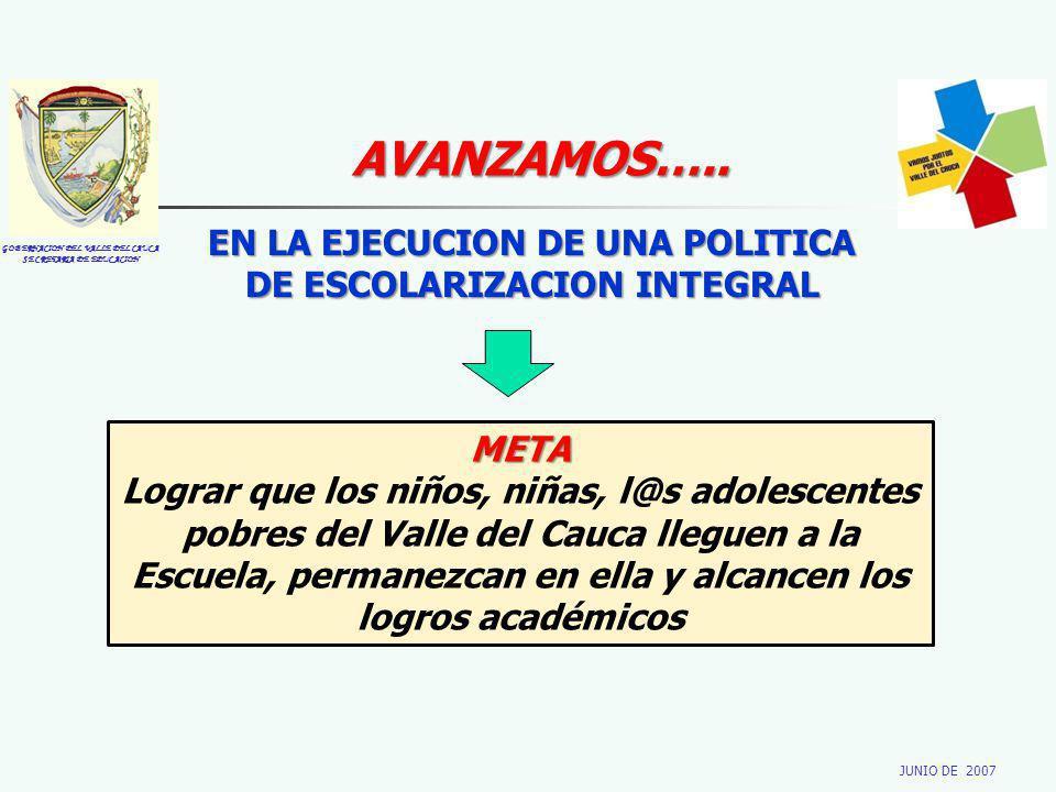 GOBERNACION DEL VALLE DEL CAUCA SECRETARIA DE EDUCACION JUNIO DE 2007 AVANZAMOS….. EN LA EJECUCION DE UNA POLITICA DE ESCOLARIZACION INTEGRAL META Log