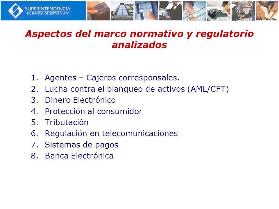 Aspectos del marco normativo y regulatorio analizados 1.Agentes – Cajeros corresponsales. 2.Lucha contra el blanqueo de activos (AML/CFT) 3.Dinero Ele