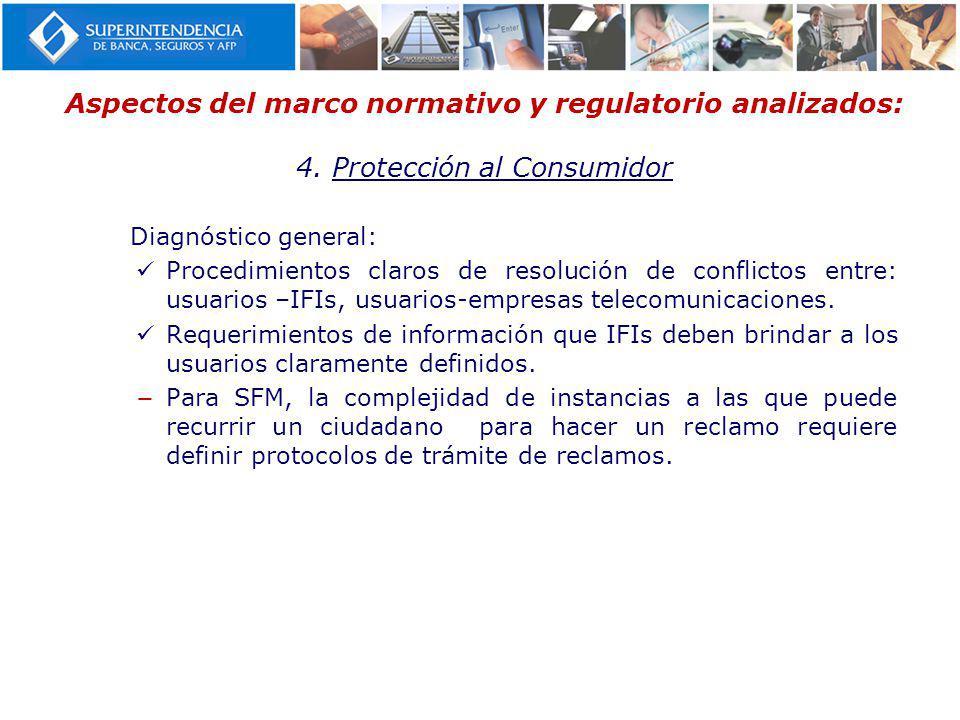 Aspectos del marco normativo y regulatorio analizados: 4. Protección al Consumidor Diagnóstico general: Procedimientos claros de resolución de conflic