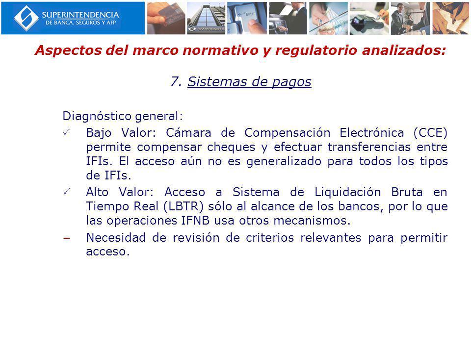 Aspectos del marco normativo y regulatorio analizados: 7. Sistemas de pagos Diagnóstico general: Bajo Valor: Cámara de Compensación Electrónica (CCE)