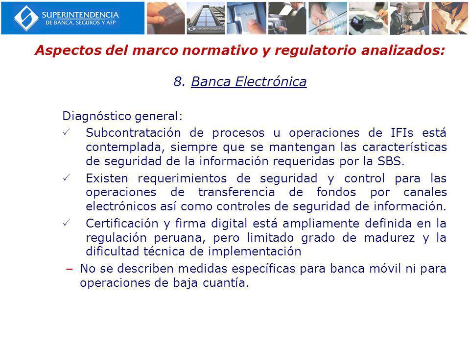 Aspectos del marco normativo y regulatorio analizados: 8. Banca Electrónica Diagnóstico general: Subcontratación de procesos u operaciones de IFIs est