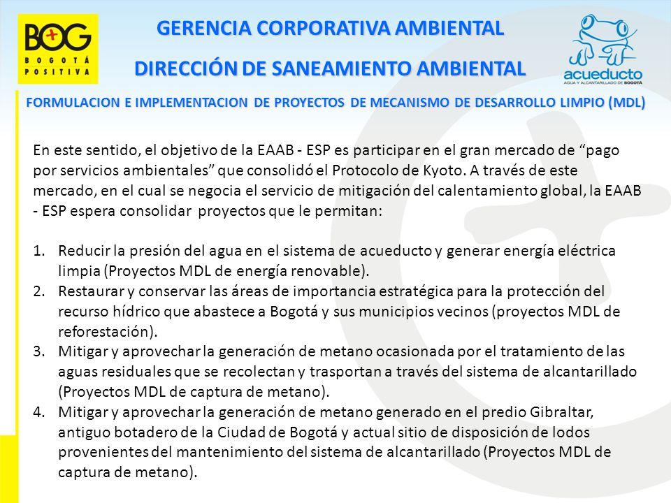 GERENCIA CORPORATIVA AMBIENTAL DIRECCIÓN DE SANEAMIENTO AMBIENTAL FORMULACION E IMPLEMENTACION DE PROYECTOS DE MECANISMO DE DESARROLLO LIMPIO (MDL) En