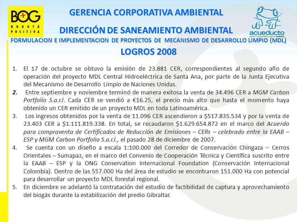 GERENCIA CORPORATIVA AMBIENTAL DIRECCIÓN DE SANEAMIENTO AMBIENTAL FORMULACION E IMPLEMENTACION DE PROYECTOS DE MECANISMO DE DESARROLLO LIMPIO (MDL) LOGROS 2008 1.El 17 de octubre se obtuvo la emisión de 23.881 CER, correspondientes al segundo año de operación del proyecto MDL Central Hidroeléctrica de Santa Ana, por parte de la Junta Ejecutiva del Mecanismo de Desarrollo Limpio de Naciones Unidas.