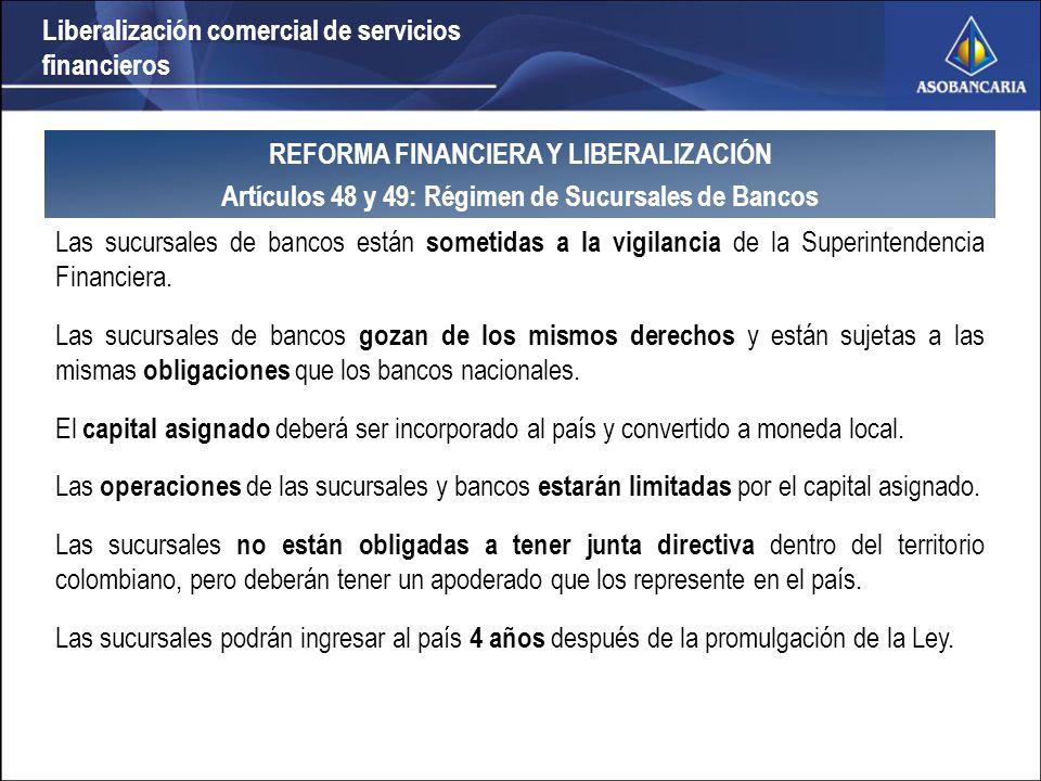 Liberalización comercial de servicios financieros La apertura sería unilateral si la Reforma Financiera se promulga antes de la aprobación del TLC.