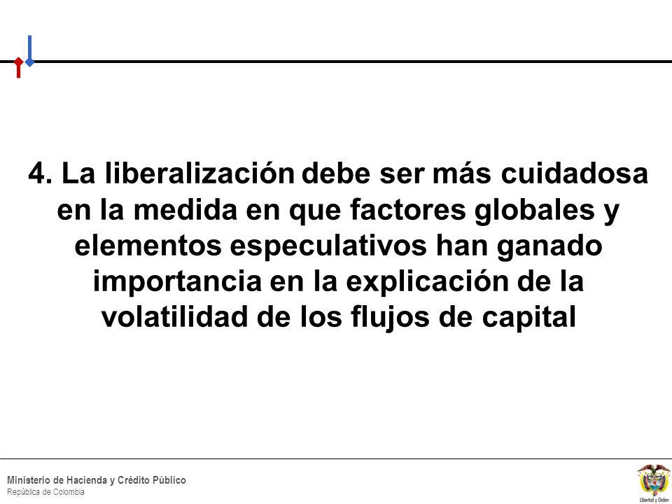 HACIA UN MINISTERIO AGIL, ACERTADO Y CONFIABLE Ministerio de Hacienda y Crédito Público República de Colombia 4. La liberalización debe ser más cuidad