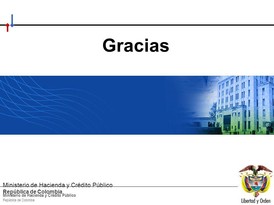 HACIA UN MINISTERIO AGIL, ACERTADO Y CONFIABLE Ministerio de Hacienda y Crédito Público República de Colombia Gracias Ministerio de Hacienda y Crédito