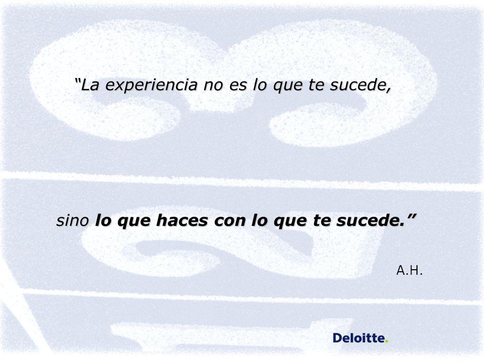 La experiencia no es lo que te sucede, sino lo que haces con lo que te sucede. sino lo que haces con lo que te sucede. A.H.