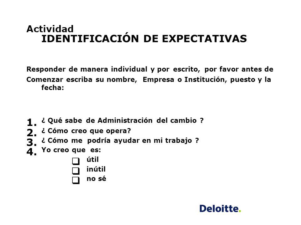 Actividad IDENTIFICACIÓN DE EXPECTATIVAS Responder de manera individual y por escrito, por favor antes de Comenzar escriba su nombre, Empresa o Instit