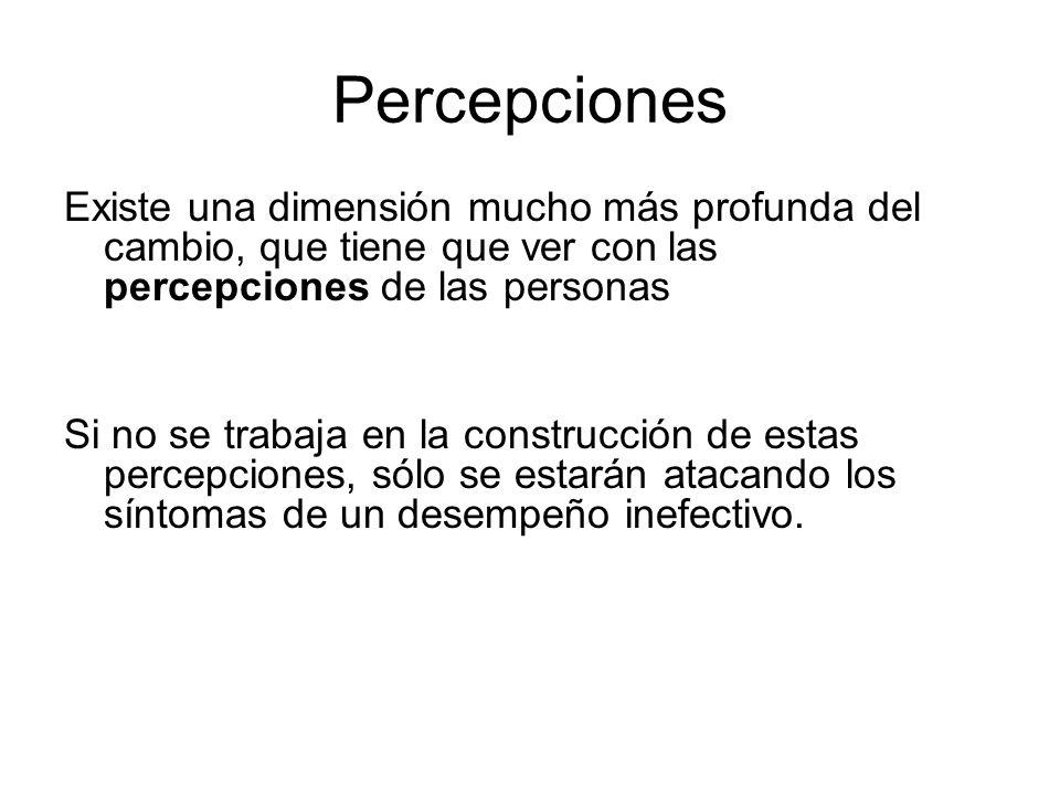 Percepciones Existe una dimensión mucho más profunda del cambio, que tiene que ver con las percepciones de las personas Si no se trabaja en la constru
