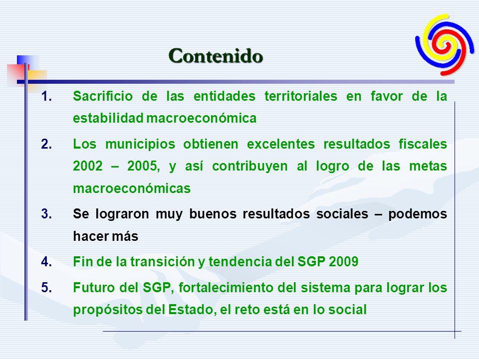1. 1.Sacrificio de las entidades territoriales en favor de la estabilidad macroeconómica 2.