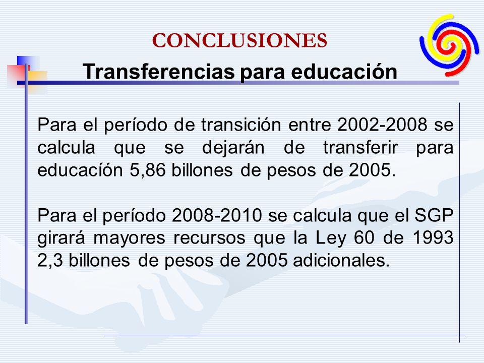 Para el período de transición entre 2002-2008 se calcula que se dejarán de transferir para educacíón 5,86 billones de pesos de 2005. Para el período 2