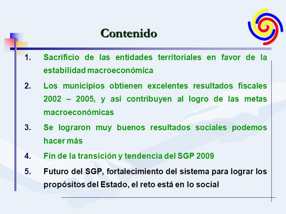1. 1.Sacrificio de las entidades territoriales en favor de la estabilidad macroeconómica 2. 2.Los municipios obtienen excelentes resultados fiscales 2