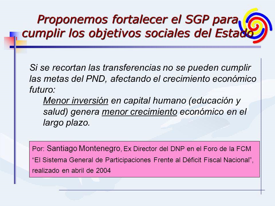 Si se recortan las transferencias no se pueden cumplir las metas del PND, afectando el crecimiento económico futuro: Menor inversión en capital humano