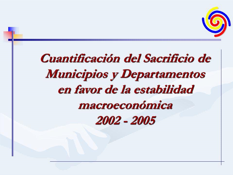 Cuantificación del Sacrificio de Municipios y Departamentos en favor de la estabilidad macroeconómica 2002 - 2008