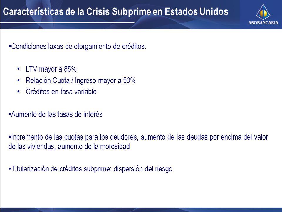 Características de la Crisis Subprime en Estados Unidos Condiciones laxas de otorgamiento de créditos: LTV mayor a 85% Relación Cuota / Ingreso mayor