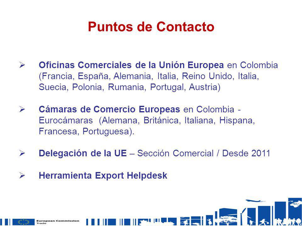 Puntos de Contacto Oficinas Comerciales de la Unión Europea en Colombia (Francia, España, Alemania, Italia, Reino Unido, Italia, Suecia, Polonia, Ruma