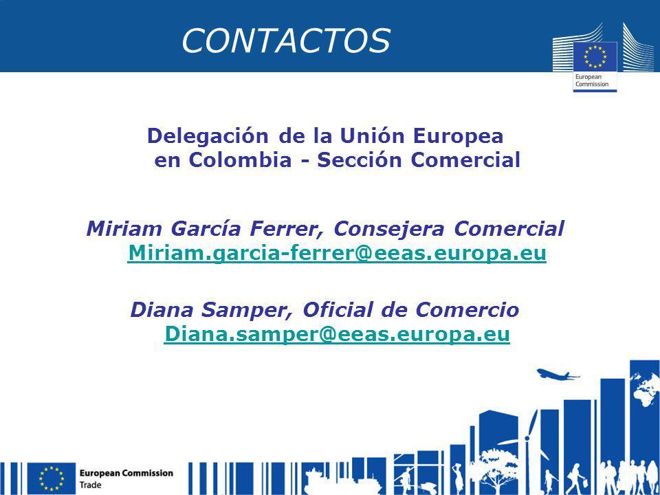 CONTACTOS Delegación de la Unión Europea en Colombia - Sección Comercial Miriam García Ferrer, Consejera Comercial Miriam.garcia-ferrer@eeas.europa.eu