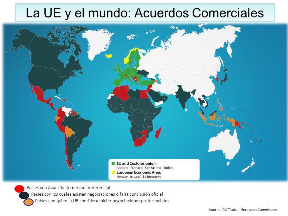 La UE y el mundo: Acuerdos Comerciales Países con Acuerdo Comercial preferencial Países con los cuales existen negociaciones o falta conclusión oficia