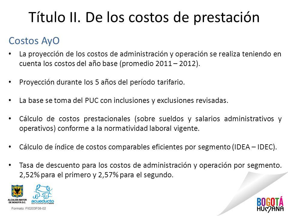 Título II. De los costos de prestación Costos AyO La proyección de los costos de administración y operación se realiza teniendo en cuenta los costos d