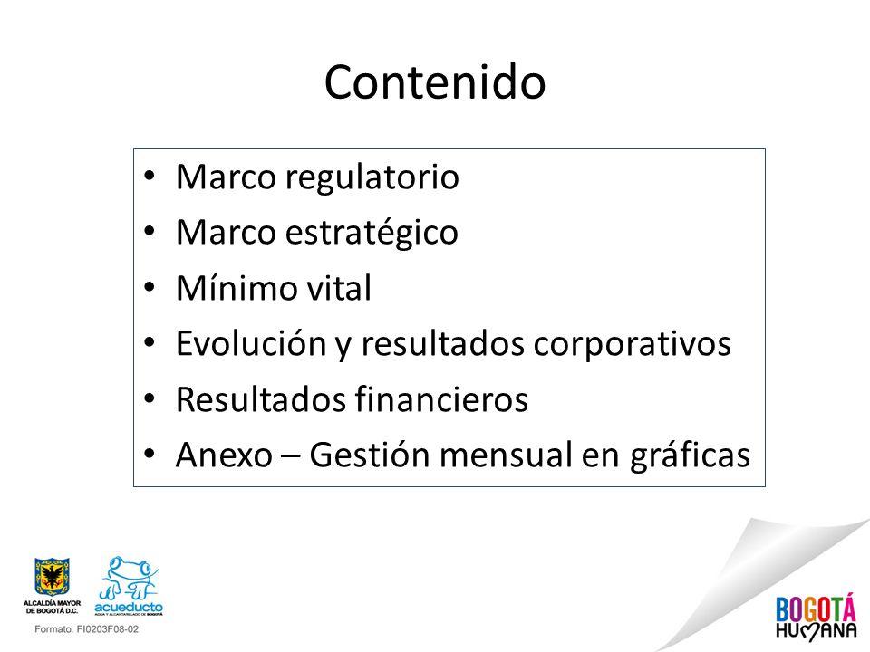 Contenido Marco regulatorio Marco estratégico Mínimo vital Evolución y resultados corporativos Resultados financieros Anexo – Gestión mensual en gráfi