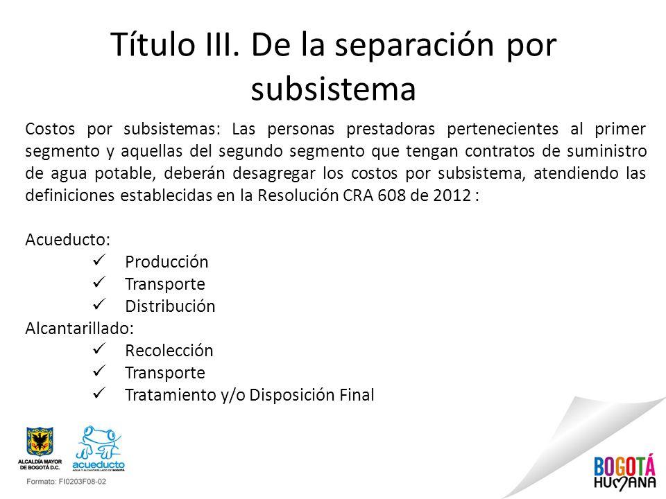 Título III. De la separación por subsistema Costos por subsistemas: Las personas prestadoras pertenecientes al primer segmento y aquellas del segundo
