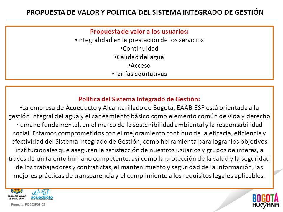 PROPUESTA DE VALOR Y POLITICA DEL SISTEMA INTEGRADO DE GESTIÓN Propuesta de valor a los usuarios: Integralidad en la prestación de los servicios Conti