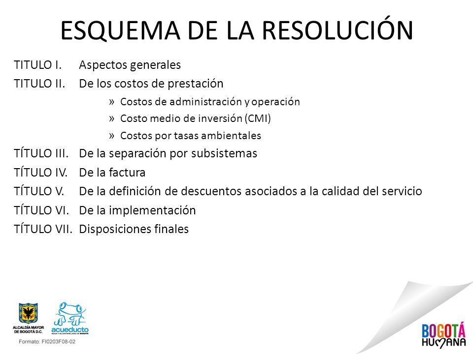 ESQUEMA DE LA RESOLUCIÓN TITULO I. Aspectos generales TITULO II. De los costos de prestación » Costos de administración y operación » Costo medio de i