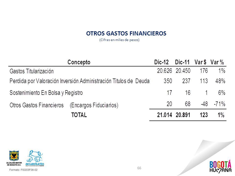 OTROS GASTOS FINANCIEROS (Cifras en miles de pesos) 66