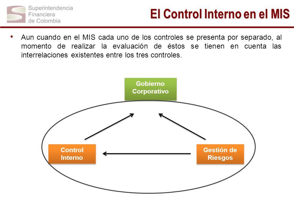 Aun cuando en el MIS cada uno de los controles se presenta por separado, al momento de realizar la evaluación de éstos se tienen en cuenta las interre