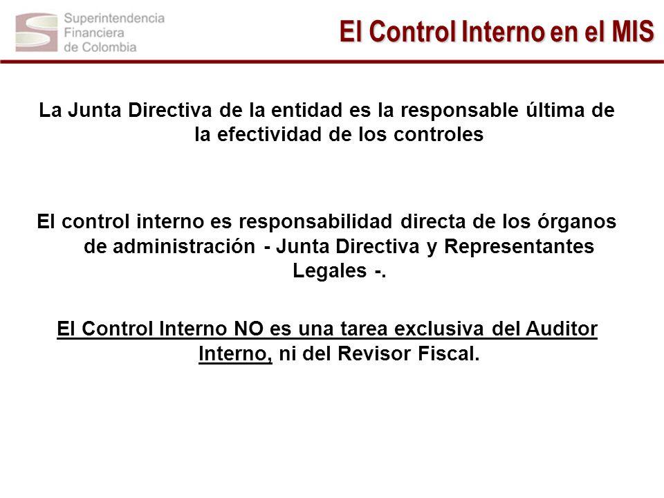 La Junta Directiva de la entidad es la responsable última de la efectividad de los controles El control interno es responsabilidad directa de los órga