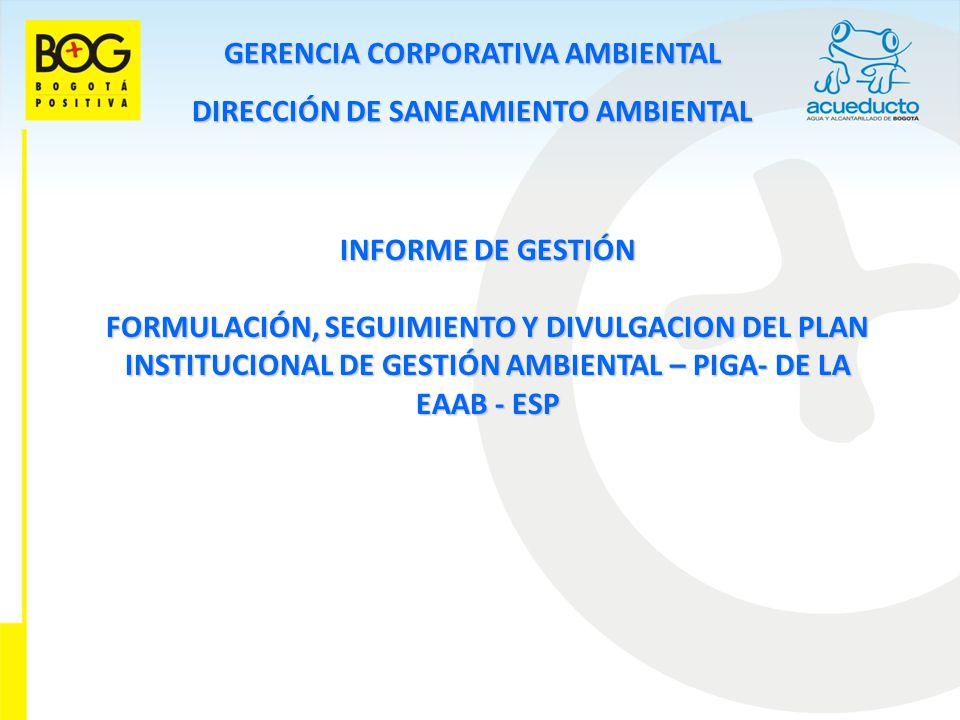 GERENCIA CORPORATIVA AMBIENTAL DIRECCIÓN DE SANEAMIENTO AMBIENTAL INFORME DE GESTIÓN FORMULACIÓN, SEGUIMIENTO Y DIVULGACION DEL PLAN INSTITUCIONAL DE