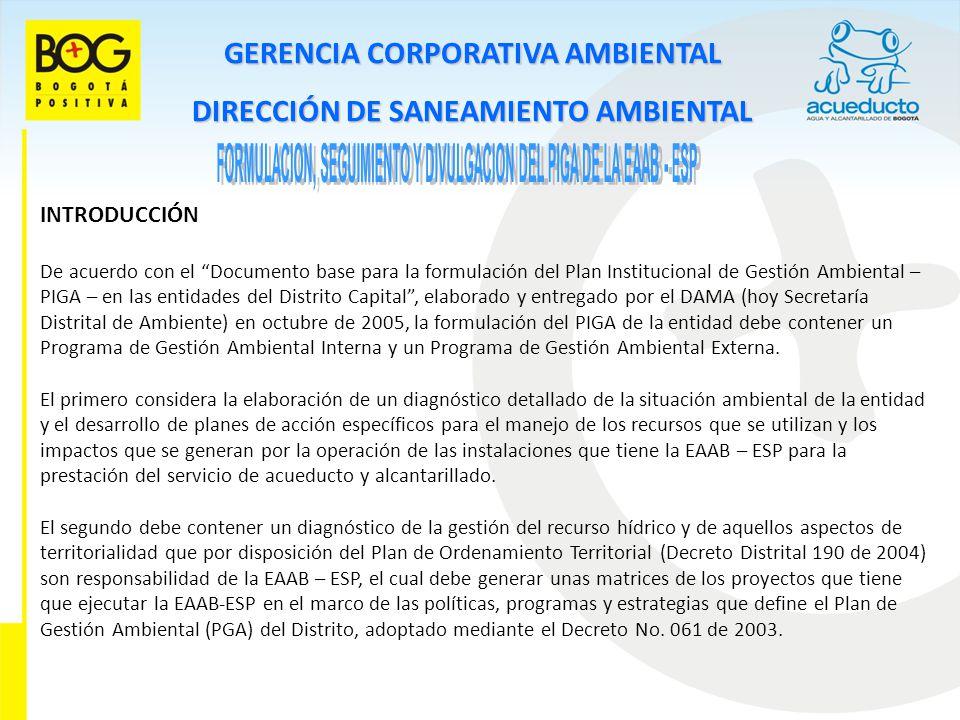 GERENCIA CORPORATIVA AMBIENTAL DIRECCIÓN DE SANEAMIENTO AMBIENTAL INTRODUCCIÓN De acuerdo con el Documento base para la formulación del Plan Instituci