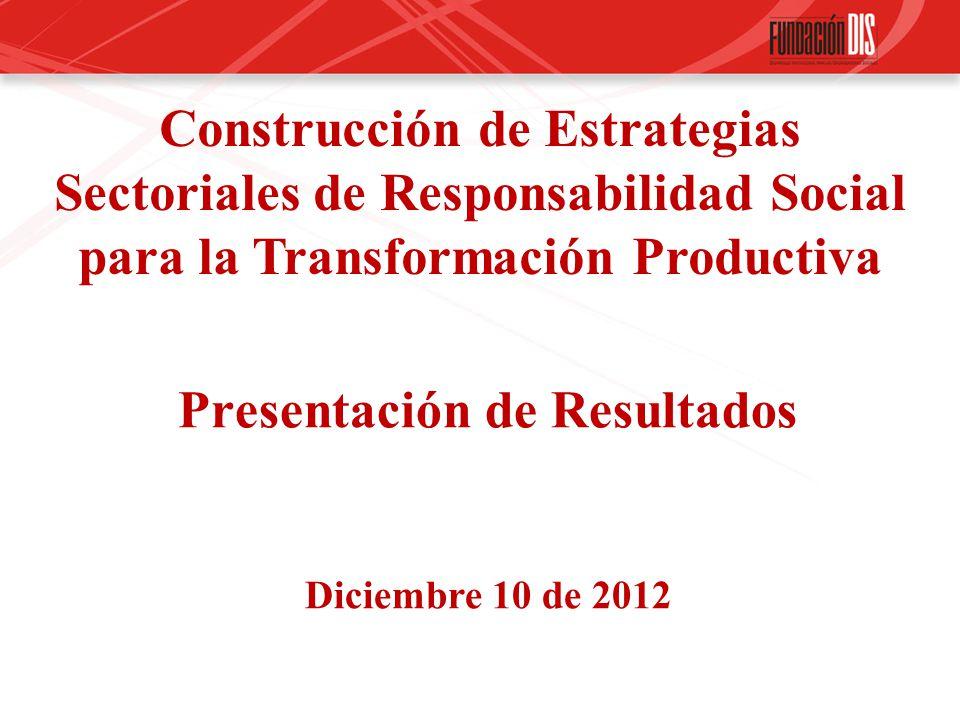 Presentación de Resultados Construcción de Estrategias Sectoriales de Responsabilidad Social para la Transformación Productiva Diciembre 10 de 2012