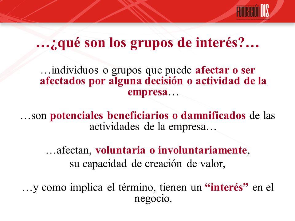 …¿qué son los grupos de interés?… …individuos o grupos que puede afectar o ser afectados por alguna decisión o actividad de la empresa… …son potencial