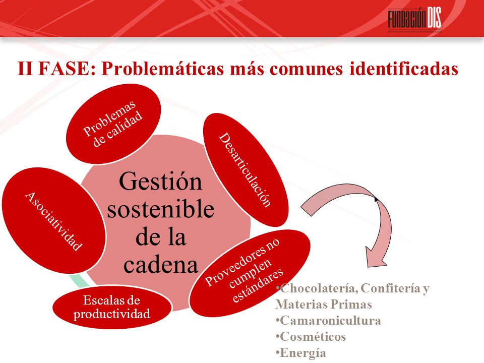 II FASE: Problemáticas más comunes identificadas Gestión sostenible de la cadena Problemas de calidad Desarticulación Proveedores no cumplen estándare