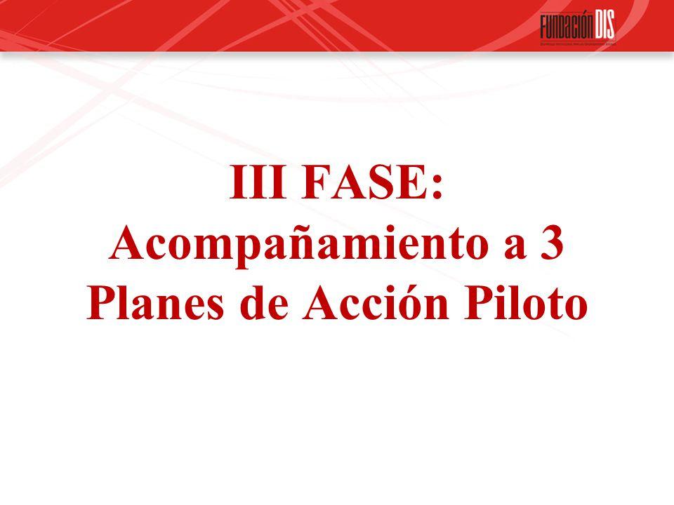 III FASE: Acompañamiento a 3 Planes de Acción Piloto